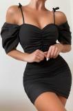 Sommer Elegantes schwarzes Minikleid mit gerüschten Trägern