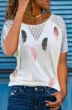 Sommer Rundhals-Patch Aushöhlen Blatt Print Weißes Hemd