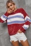 Herbst breiter Streifen bunter O-Ausschnitt Pullover lockerer Pullover
