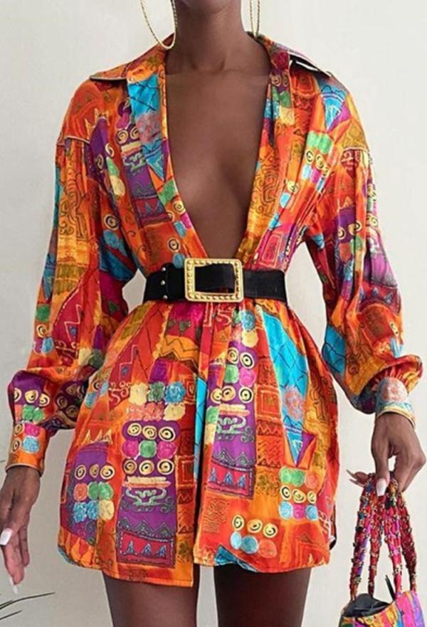 Herbstliches Afrika-Print-Blusenkleid mit Puffärmeln