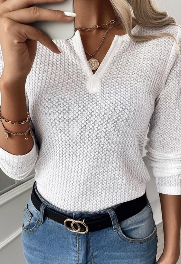 Herbst schlichtes weißes Basic-Shirt mit V-Ausschnitt und vollen Ärmeln