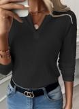 Herbst schlichtes schwarzes Basic-Shirt mit V-Ausschnitt und vollen Ärmeln
