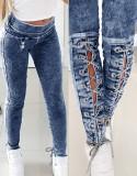 Herbst-Denim-Leggings mit hoher Taille und Schnürung im Used-Look