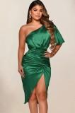 Herbst formales grünes Satin One Shoulder unregelmäßiges Partykleid