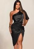 Herbst formales schwarzes Satin One Shoulder unregelmäßiges Partykleid