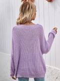 Herbst Lila V-Ausschnitt Loose Cut Long Sweater Top