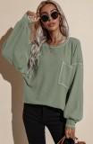 Herbst beiläufiges grünes O-Ausschnitt loses Hemd