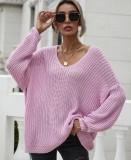 Herbstrosa V-Ausschnitt, locker geschnittenes, langes Pullover-Oberteil
