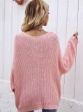 Herbstrosa V-Ausschnitt locker geschnittenes langes Pullover-Oberteil