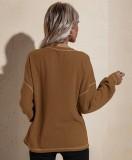 Herbst beiläufiges braunes O-Ausschnitt loses Hemd