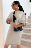 Herbst beiläufiges graues Puffärmel-O-Ausschnitt langes Hemdkleid