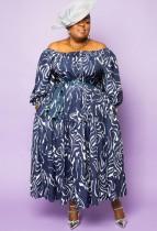 Herbst Plus Size Print Blau Schulterfreies langes Kleid mit Gürtel