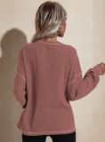 Herbst beiläufiges rosa O-Ausschnitt loses Hemd