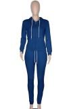 Herbst Casual Blue Zipper Hoodies Trainingsanzug