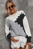 Herbst-Farbblock-O-Ausschnitt Pullover Loser Pullover