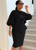 Herbst beiläufiges schwarzes Puffärmel-O-Ausschnitt langes Hemdkleid