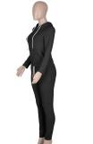 Herbst beiläufiger schwarzer Reißverschluss Hoodies Trainingsanzug