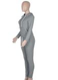 Herbst Casual Grau Reißverschluss Hoodies Trainingsanzug