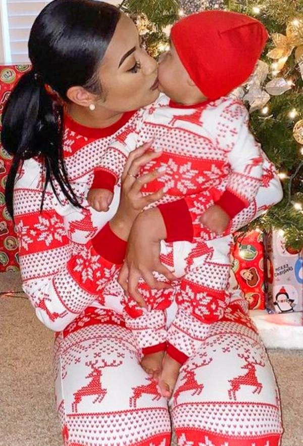 Weihnachten Print Family One Piece Strampler Pyjama für Baby