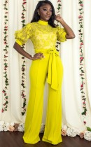 Autumn Lace Upper Formal Yellow Jumpsuit with Belt