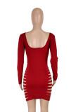 Herbst Party Rot Sexy Zerrissenes Langarm Bodycon Kleid