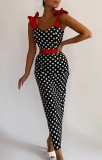 Herbstliches Polka-Print-Retro-Träger-gebundenes langes, schmales Kleid