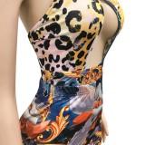 Sommerfest Sexy Leopard Neckholder Body und Leggings 2-teiliger Overall