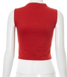 Sommerrotes, ärmelloses Crop Top mit Cut-Outs
