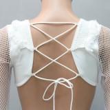 Herbstliches weißes Netzkleid mit V-Ausschnitt und Netzausschnitt