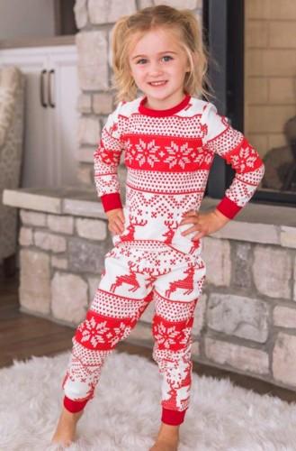 子供のためのクリスマスプリントファミリーツーピースパンツパジャマセット