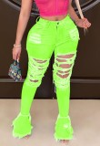 Autumn Neon Green Sexy Ripped Bell Bottom Jeans