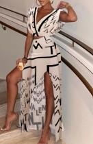 Conjunto de falda larga con escote en V formal con estampado de letras otoñales y falda larga con abertura