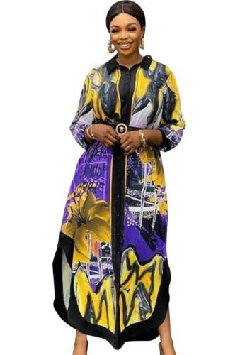 Lange blousejurk met Afrikaanse print en zijsplit