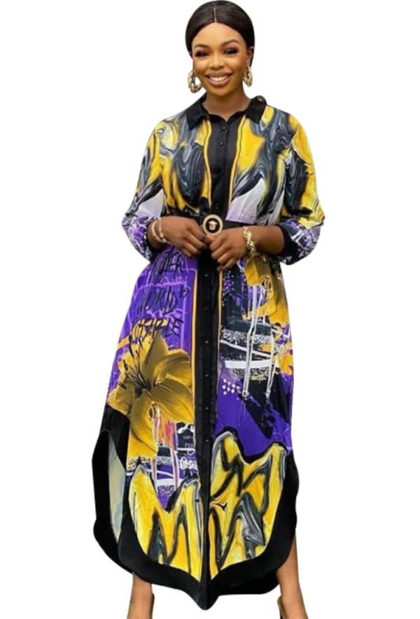 Herbstliches, afrikanisches, langes Blusenkleid mit Seitenschlitzen