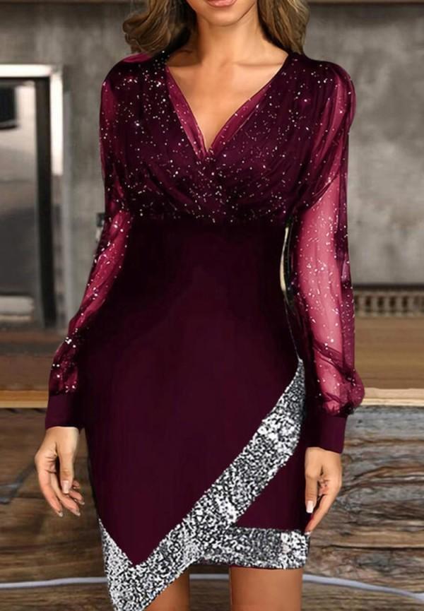 Herbst formales lila Pailletten V-Ausschnitt unregelmäßiges Partykleid