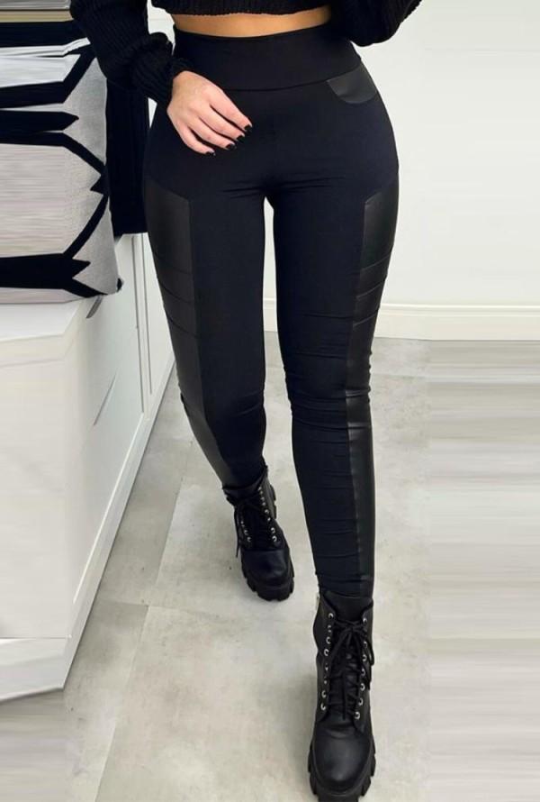 Herbstliche schwarze Leder-Patch-Leggings mit hoher Taille