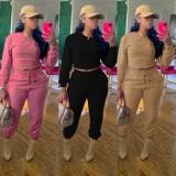 Herbst Casual Pink Crop Top und Jogginghose 2-teiliger Trainingsanzug