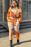 Herbst-Print-Langarm-Crop-Top und Hosen-Trainingsanzug