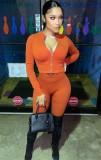 Herbst Casual Orange Enger Reißverschluss Crop Top und Hosen Set