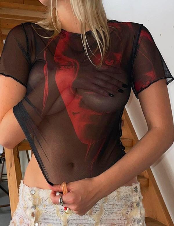 Sommer Print Schwarz Mesh Sexy Party Shirt