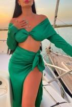 Conjunto de falda larga sin tirantes elegante verde otoñal y falda larga irregular con abertura