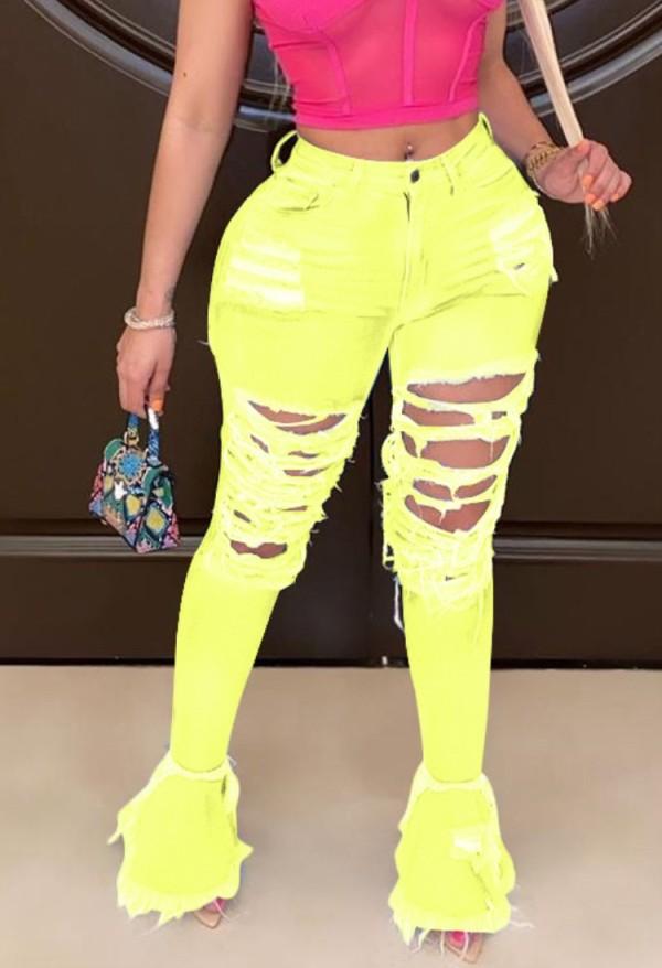 Jeans con fondo a campana strappati sexy gialli autunnali