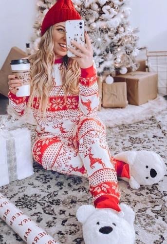 ママのためのクリスマスプリントファミリーツーピースパンツパジャマセット