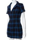 Sommer-Karo-Print Blau Kurzarm Blusenkleid