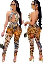 Summer Party Sexy Leopard Halter Body e Leggings Tuta 2 pezzi