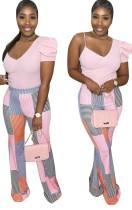 Top irregolare con stampa estiva e pantaloni con stampa abbinata