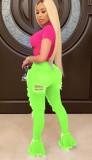 Jeans con fondo a campana strappati sexy verde neon autunnali