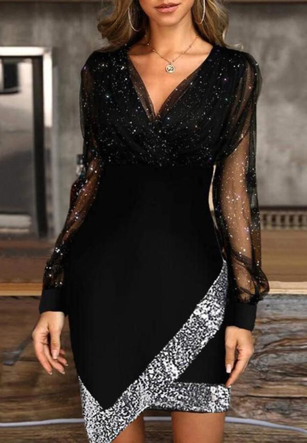 Herbst formales schwarzes Pailletten V-Ausschnitt unregelmäßiges Partykleid