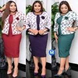 Herbst Plus Size Lila Afrikanisches Bürokleid mit Jacken-Set