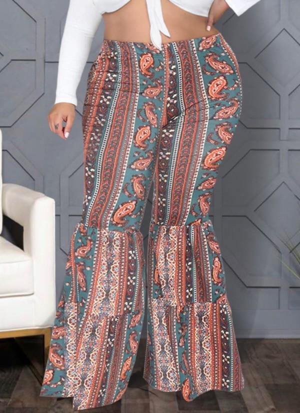 Herbst Plus Size Retro Boho Printed High Waist Schlaghose